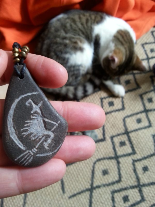 Flying witch Pebble Necklace