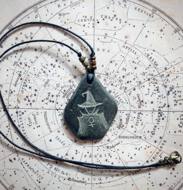 Witch pebble necklace