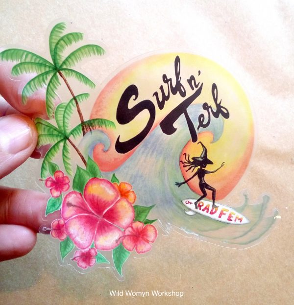 Surf N' Terf Sticker - Wild Womyn Workshop